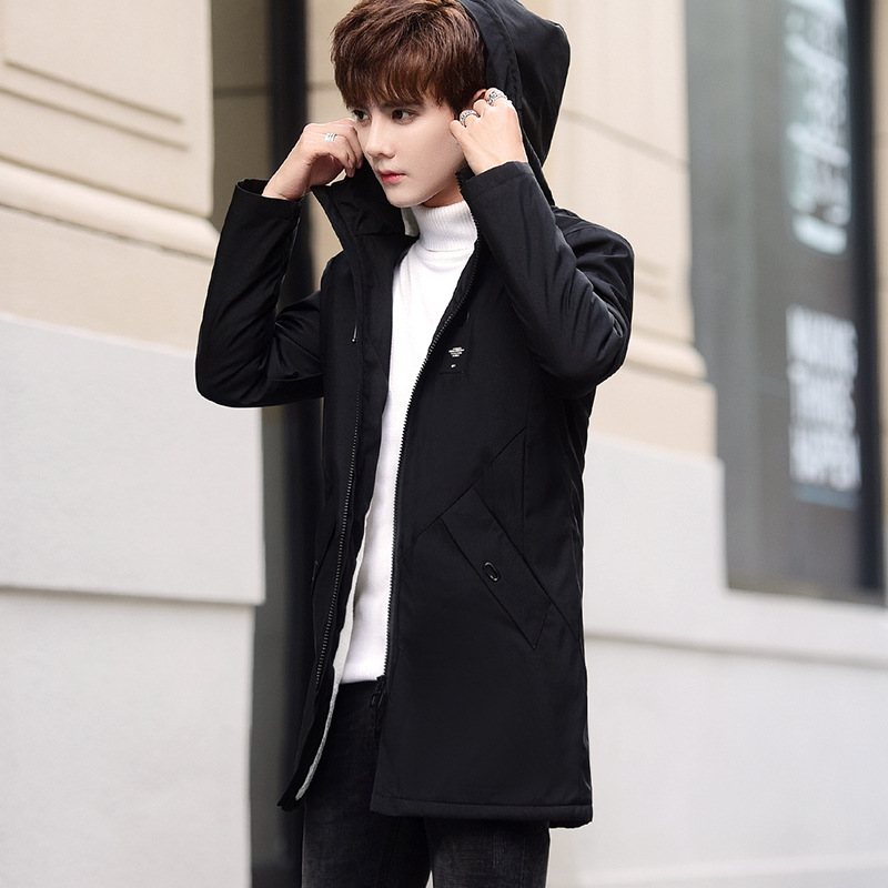 2018 Autumn And Winter New Style Plus Velvet Plus Cotton MEN'S Cotton-padded Clothes Youth Popularity Slim Fit Coat Hooded Winte