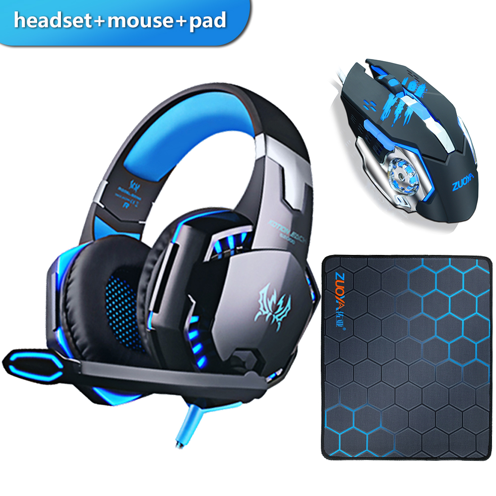 Gaming Headset Headphones with microphone Stereo Earphone Gaming Mouse Mice 4000 DPI Wired USB Optical for PC mosue pad gift