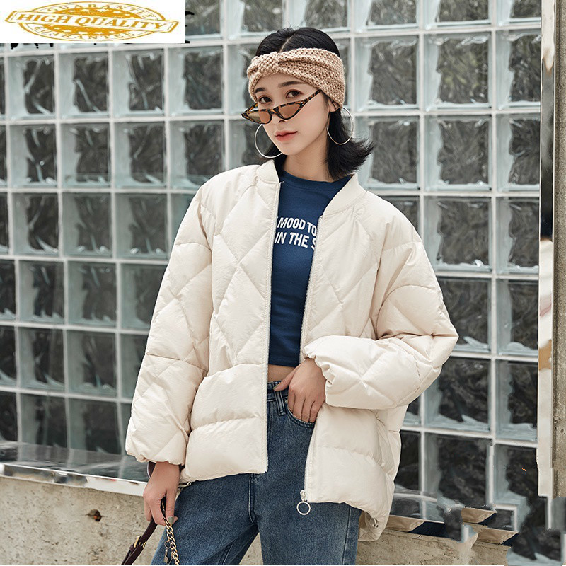 Winter Coat Women White Duck Down Jacket Women Korean Short Down Coat Oversized Puffer Jacket Warm Parka 1803 YY1413