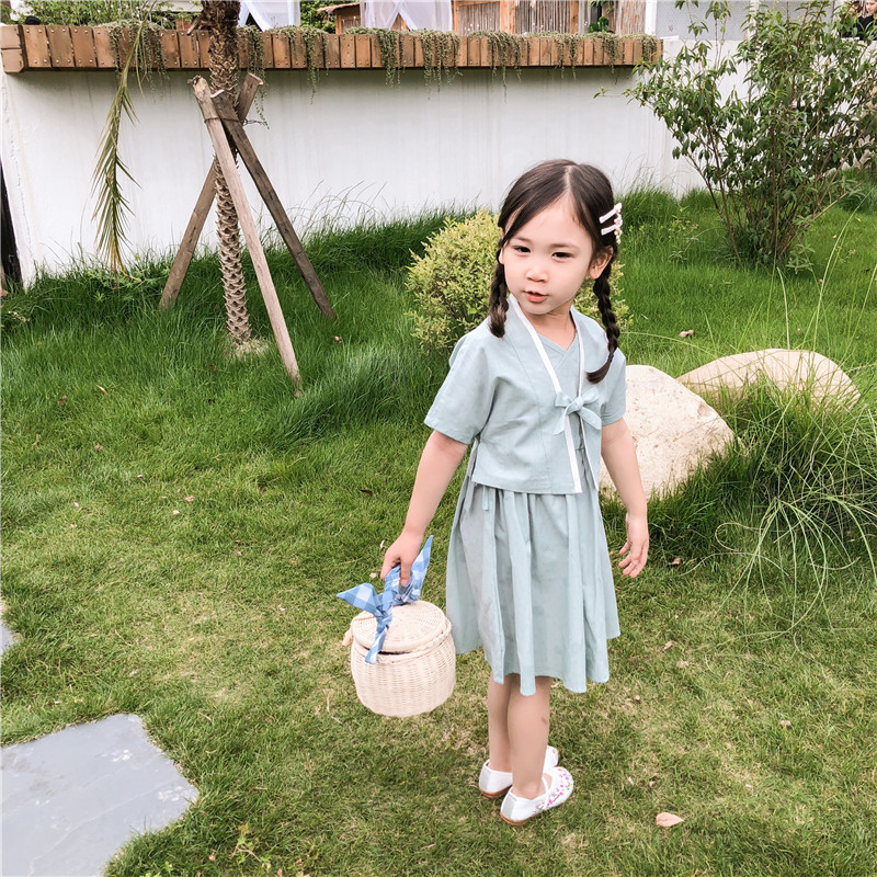 2019 Summer New Style Chinese Clothing Chinese-style Tank Dress + Short Sleeve Small Cardigan Ethnic-Style Set