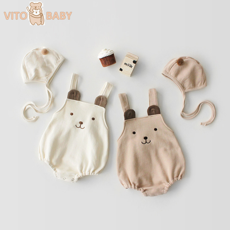 Spring Baby Girl Boy Rompers Pure Cotton Sleeveless Jumpsuit +  Hat Clothes Cartoon Bear Rompers Baby Girls And Boys Clothes