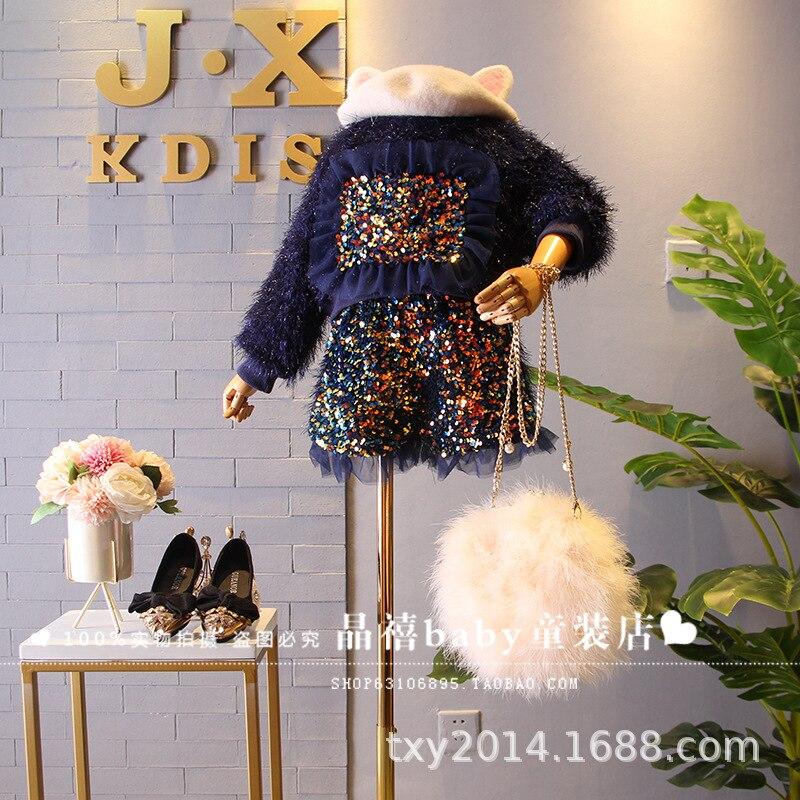 Children's Wear 2019 Winter New Girls Heavy Industry Sequins Plush Plus Velvet Round Collar Sweater Shorts Set