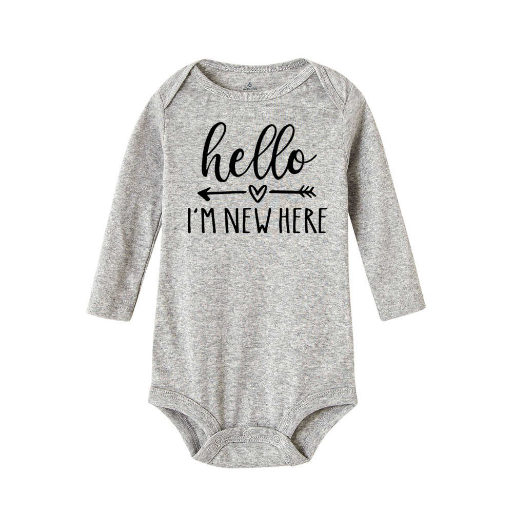 Hello I'm New Here/Забавный комбинезон с принтом для новорожденных; хлопковый комбинезон с длинными рукавами для маленьких мальчиков и девочек; Модный спортивный костюм для малышей