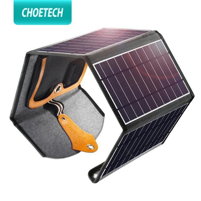 CHOETECH 5V 2.4A panneau solaire 22W pour iPhone 11 X XS dispositifs de sortie USB Portable étanche panneaux solaires chargeur de téléphone pour xiaomi