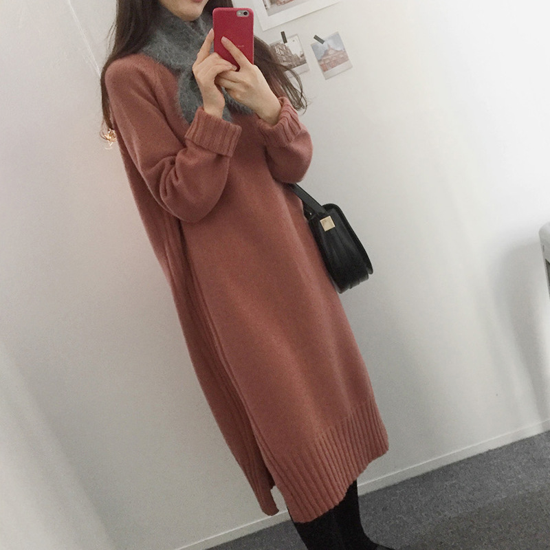 South Korea Autumn And Winter CHIC Slit Mid-length Base Full Body Dress Over-the-Knee Long Sleeve Sweater Dress Dress