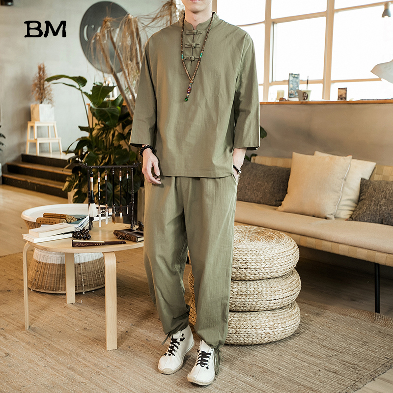 2020 Summer Chinese Style Zen Clothing Men Linen Suit Three Quarter Sleeve T Shirt Plus Size Clothes 5XL Pants Male Tracksuit