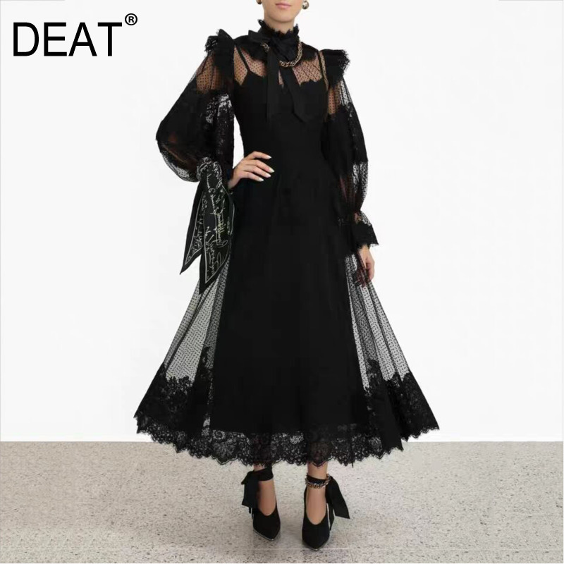 DEAT Autumn And Winter Fashion Clothes Women Turtleneck Flare Sleeves Hollow Out Lace Ruffles Sexy See Through Dress WJ15312L