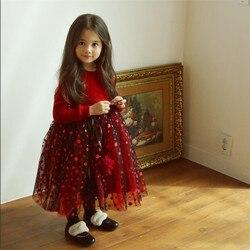 Платье для девочек вечерние платья для маленьких девочек с начесом с длинными рукавами, из сетчатой ткани для маленьких девочек; Одежда для ...