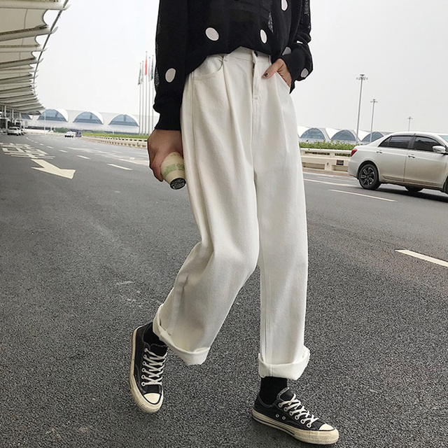 Jeans Women Loose High Waist Leisure Full-length Wide Leg Jean All-match Korean Style Simple Womens Trendy Harajuku Daily Chic 4