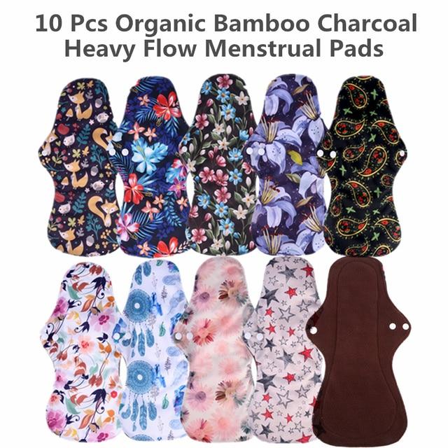 [simfamily] 10pcs organic Bamboo Charcoal washable Hygiene menstrual pads Heavy flow sanitary pads lady cloth pad reusable pads