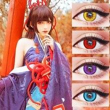 Красивые цветные контактные линзы для ученика, ежемесячный бросок, Женская дорожка, 14 мм, милые разноцветные вечерние линзы, подарок, украшение для девочки из мультфильма, косплей