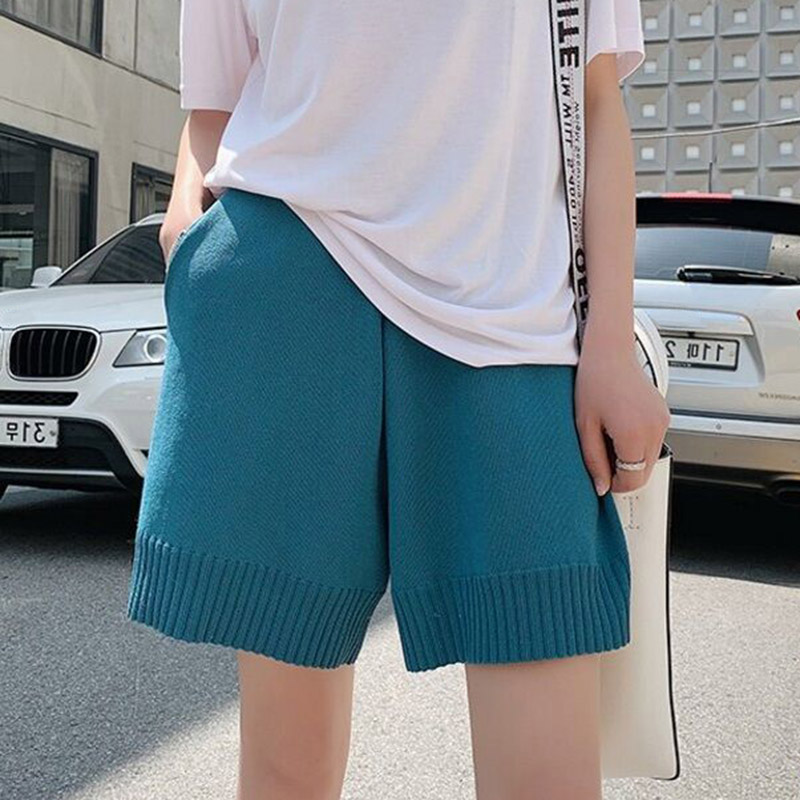 Women Knit Shorts High Waist Summer Straight Cut Wide Waistband Loose XRQ88