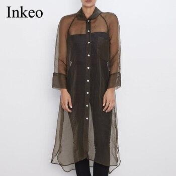 Single breasted Women Long Blouse Sexy semi-sheer Organza Female shirts 2019 Autumn Fashion asymmetric hem Tops INKEO 9T013 tassel hem blouse