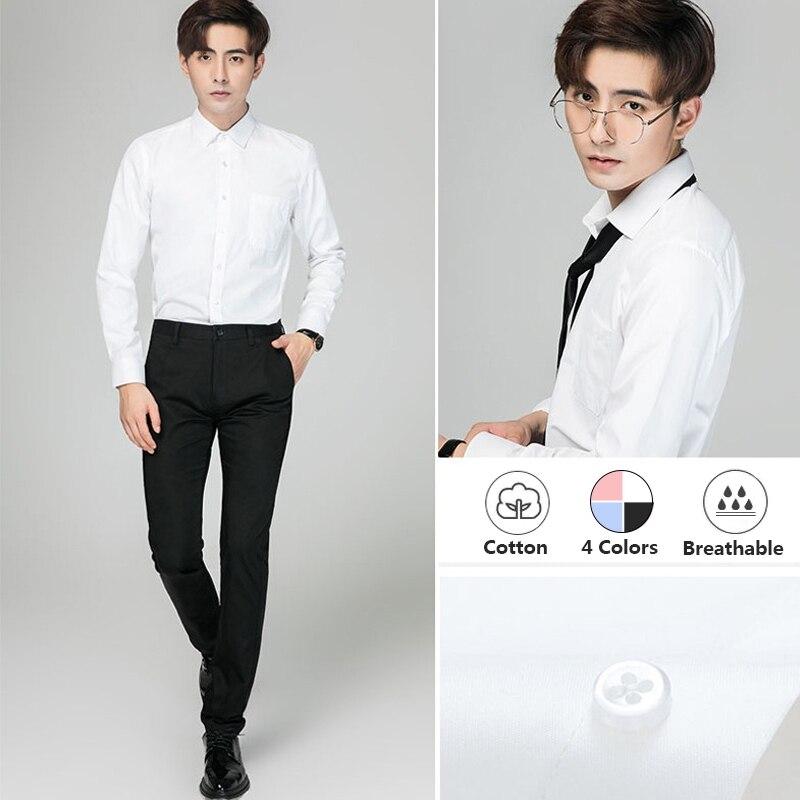Men's Formal Shirts Korean Business Casual Plain Slim Long Sleeves Shirt White Oversized Business Shirts Offical Shirt