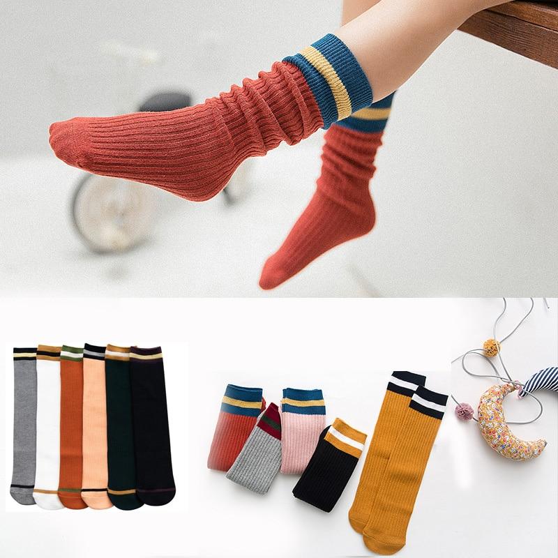 Cotton Children's Socks For Girls Boys Knee High Kids Baby Toddler Summer Chaussettes Fille Multicolor Striped Boy Antislip