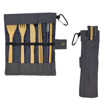 Reusable utensil kit Flatware Plastic Free For Gifts Travel Outdoor Camping  wooden set zero waste bamboo cutlery