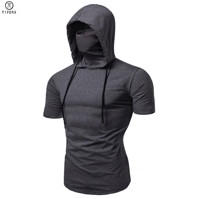 Fashion Short-Sleeved Mask Hooded Tops Men Casual Elastic Solid Fitness Hip Hop Slim Fit Male top tees Streetwear M-3XL 1