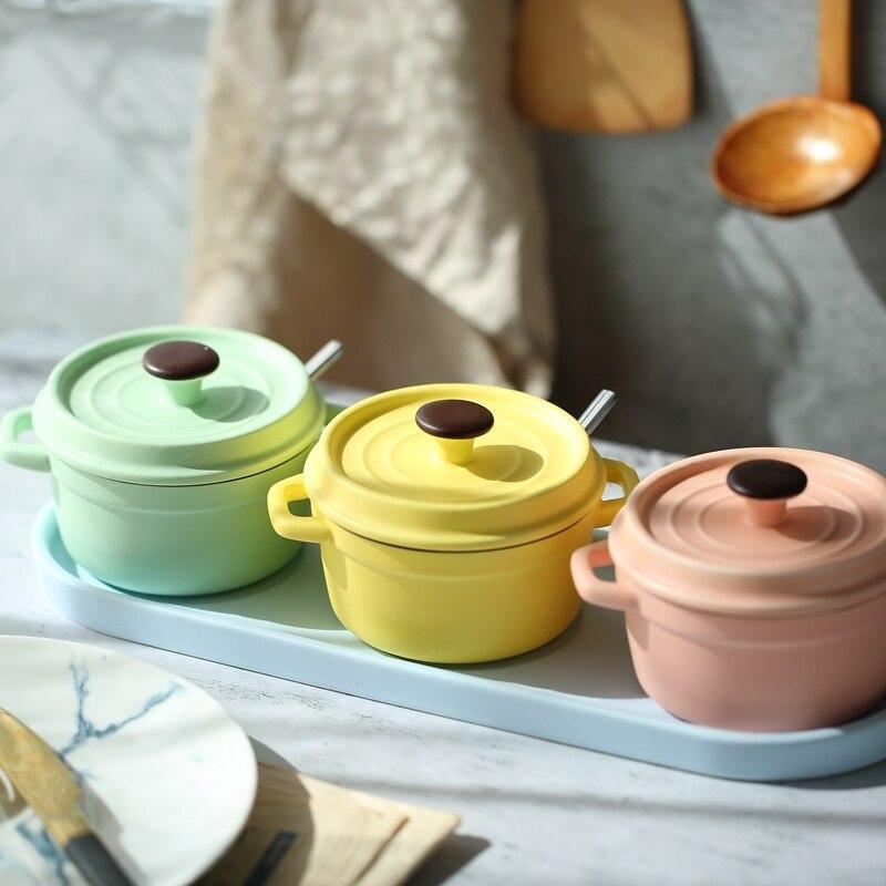 Cuisine paysage ligne Macaron en céramique assaisonnement pot set stockage pot bol ragoût pot assaisonnement boîte salière avec couvercle cuillère