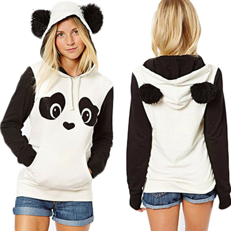 Hot Women's Hoodie Sweatshirt Jumper Hooded Pullover Coat Tops Panda Cartoon Hoody Sweatshirts