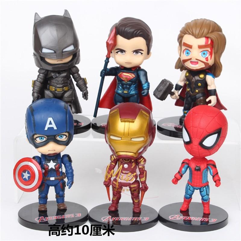 10cm Marvel NEW Avengers Infinity War Thanos Spiderman Iron Man Batman Captain America Action Figure Toys Dolls Toys
