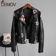 Women Floral Print Embroidery Faux Soft Leather Jacket Coat  Turn-down Collar Casual Pu Motorcycle Black Punk Outerwear ZOGAA