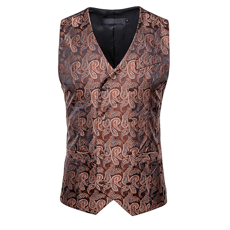 Suit Vest Gilet Paisley Classic Floral Single-Breasted Business Slim-Fit Homme Party-Marriage