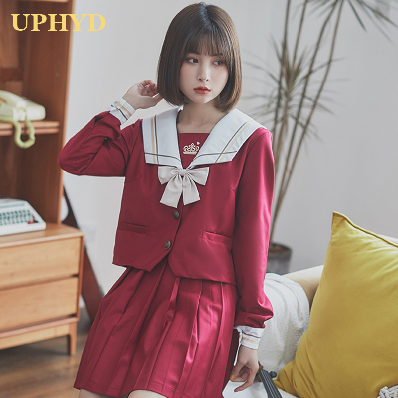 Crown Embroidery Japanese School Uniform Girl Cosplay Sailors College Style School Suit