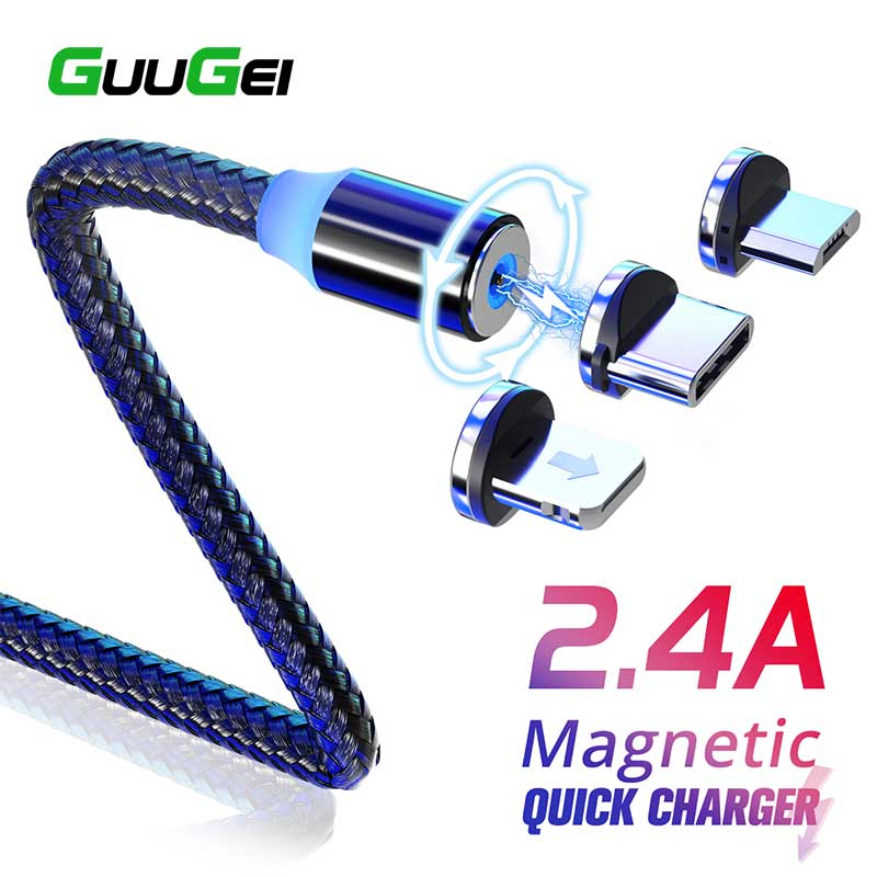 GUUGEI Magnetic Micro USB Type C Cable Magnetic Charge For xiaomi redmi note 7 Android for Umidigi F2 Fast Charging Charger Cord