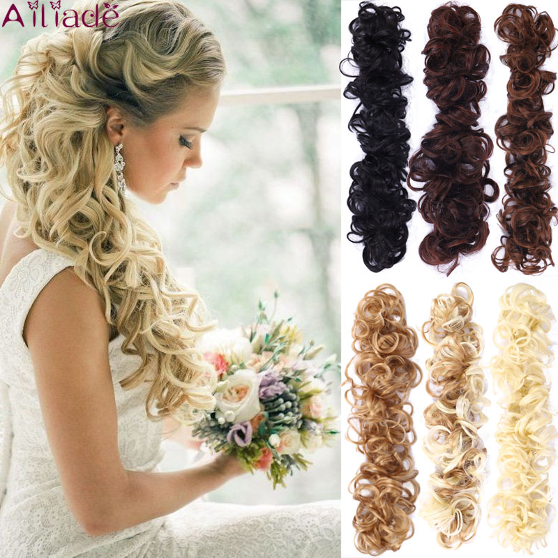 AILIADE Hair Bun Scrunchy Hairpiece Extensions Synthetic Wig Ring Twining Chignon For Women High Temperature Fiber Updo Donut