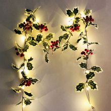 2M 20 Pcs LED Light String Red Fruit Rattan Decorative Lights Christmas Hanging Pendants Light Party Window Garden Decoration
