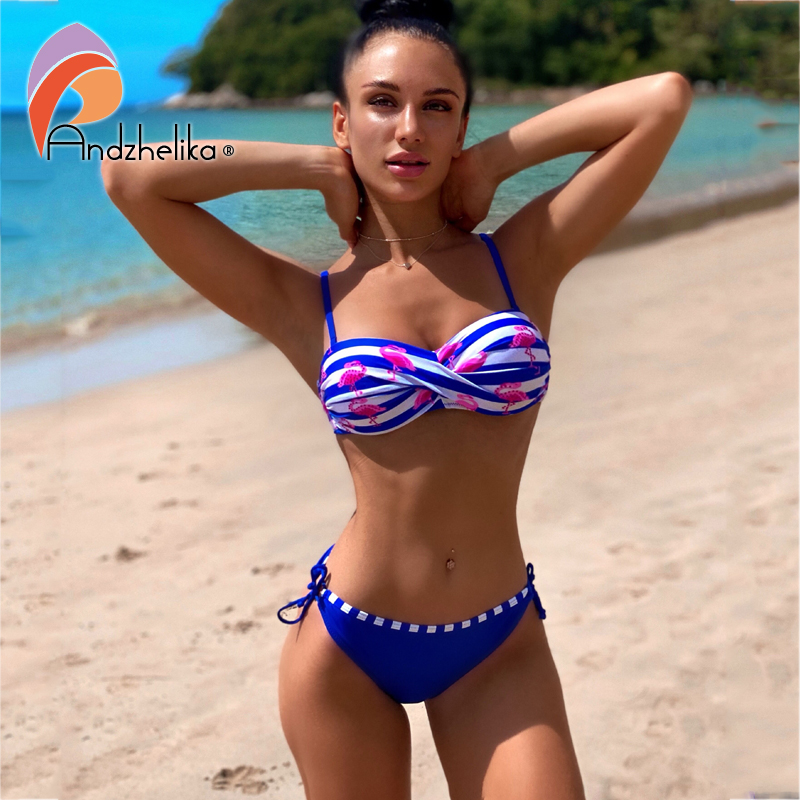 Andzhelika Bikinis Women Sexy Patchwork Bikini Stripe Swimsuit Diamond Bikini Set Low Waist Brazilian Bathing Suit Swimwear