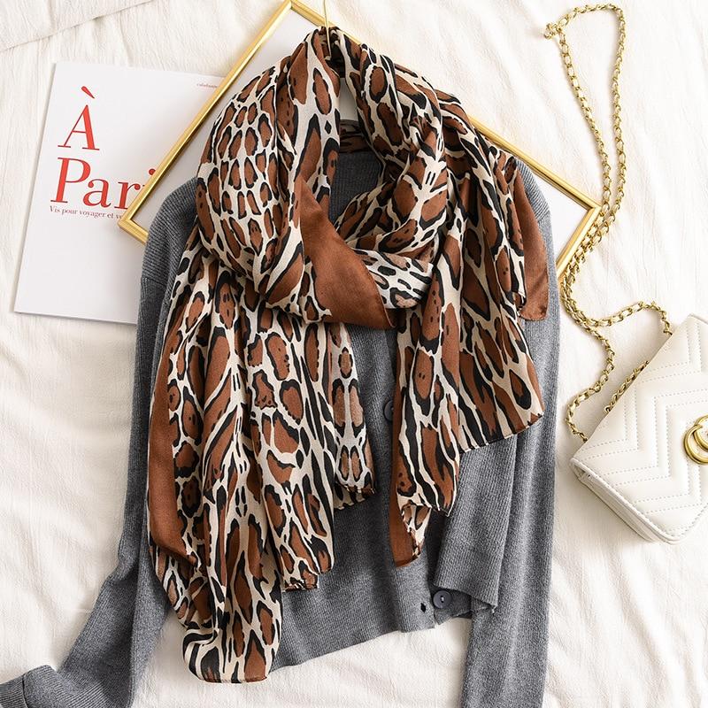 Design Brand Women Scarf Spring Winter Warm Cotton Animal Leopard Print Shawls And Wraps Ladies Pashmina Bandana Foulard Femme