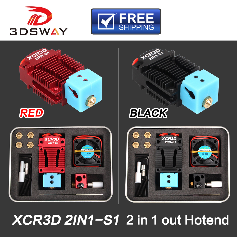 3DSWAY 3D Printer Parts XCR3D 2IN1-S1 Hotend 2 in 1 out Switch Color Bowden Extruder J-head 12V 24V 1 75mm Filament Cooling Fan