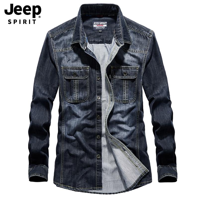 JEEP SPIRIT Famous Brand Jeans Shirt Men Cotton Autumn Long Sleeve Shirt Single Breasted Turn Down Collar Denim Shirt Men M-4XL