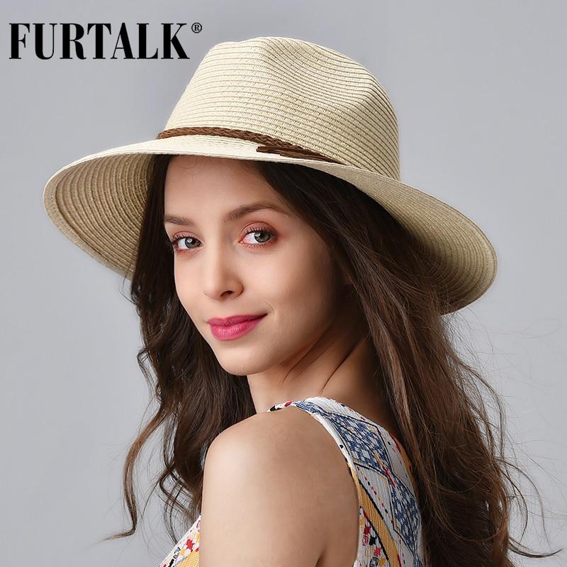 FURTALK Summer Straw Hat For Women Panama Beach Hat Bucket Sun Hats Female Summer Big Brim UV Protection Cap Chapeau Femme 2020