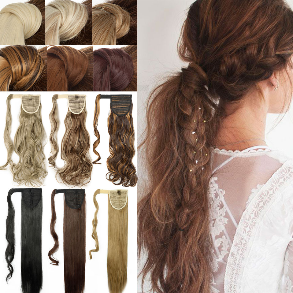 S-noilite Long Clip In Ponytail Curly Ponytail Hair Extension Natural Hair Synthetic Fake Ponytail Hair Hairpiece For Women
