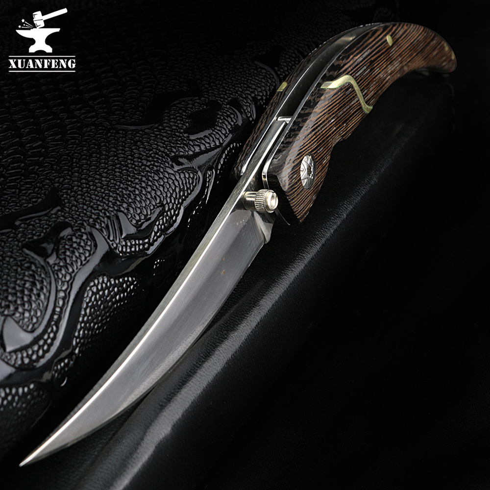 XUAN FENG Outdoor Folding Knife Tactical Hunting Knife High Hardness Army Knife Folding Knife Camping Portable Pocket Knife