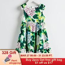 Beenira Mädchen Sommer Kleid 2020 Neue Europäischen Und Amerikanischen Stil Kinder Blume Muster Sleeveless Dresses4 14Y Kinder Nette Kleid