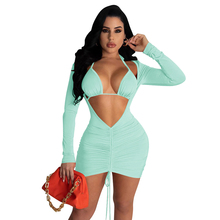 Women Deep V Neck Hollow Out Long Sleeve Drawstring Ruched Mini Dress Bandage Bra 2021 Solid 2 Piece Set Sexy Party Club Outfits