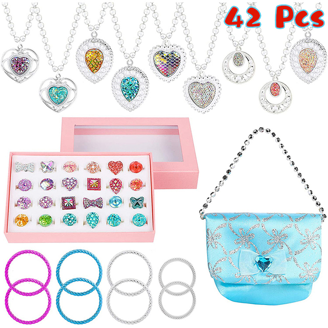 42Pcs Princess Jewelry Play Set Dress Up for Kids with Rings Earrings Necklaces Bracelet Bag Girl Gift Birthday Party Supplies 5