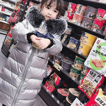 Fox Fur Down Jacket for Girls -30 Degrees Warm Winter Jacket for Girls Boys Children 2-12 Years Teenagers Outwear Coat for Kids