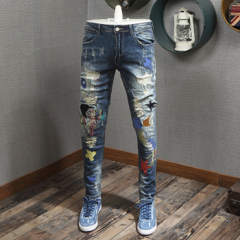 Fashion Streetwear Men Jeans Slim Fit Embroidery Designer Ripped Jeans Men Destroyed Baggy Pants Elastic Patches Hip Hop Jeans fashion designer men jeans black color slim fit elastic ripped jeans men destroyed leather patch streetwear hip hop jeans