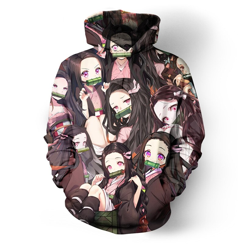 Harajuku Manga Hoodies Hipster Anime Kamado Nezuko Hoody Long Sleeve Winter Sweatshirt Unisex Tops Kawaii Cool Pullovers ZSK111