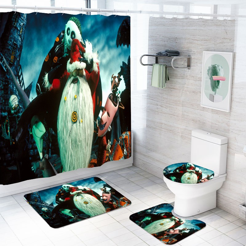 The Nightmare Before Christmas 4PCS Shower Curtain Bath Mat Toilet Lid Cover Set