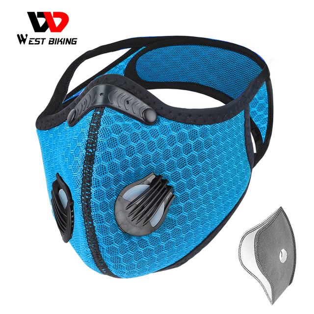 WEST BIKING Sport Face Mask With Activated Carbon Filter PM 2.5 Anti Pollution Mask Training Running Anti-dust Cycling Mask
