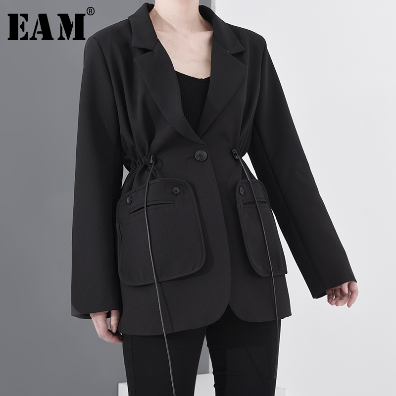 [EAM]  Women Black Drawstring Big Size Blazer New Lapel Long Sleeve Loose Fit  Jacket Fashion Tide Spring Autumn 2020 1S34801