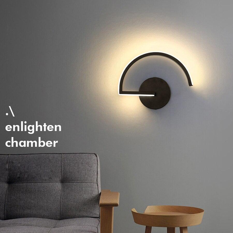 Schwarz Weiß Wand Lichter für Hause Nacht Acryl Metall Nordic Moderne Led Schlafzimmer Licht Minimal Lampe Applique Murale Leuchte
