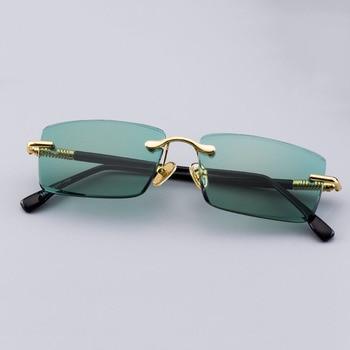 цена на Vintage Rimless Sunglasses Men Natural Crystal Stone Sun Glasses Women Retro Green Lens Sunglass Goggles UV400 Oculos De Sol