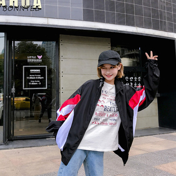 Jackets Women Casual Loose Cotton Letter Printed Trendy Coat Harajuku Hip Hop BF Womens Coats Simple Student Jacket All-match
