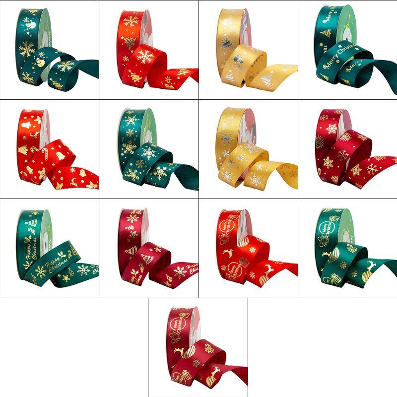 25 Yards Christmas Ribbons Gold Foil Snowflake Patterns Shimmer Bow DIY Craft 40JF